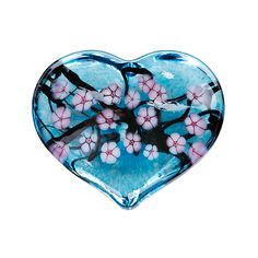"""""""Cherry Blossom Heart Paperweight - Copper Blue""""  Art Glass Paperweight  Created by Robert Held"""