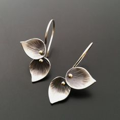 Petite Double Leaf Earrings, 14k gold accent — Ai Jewelry