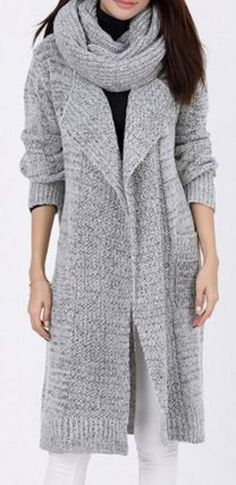 Weekend Casual! Comfy Silver Grey Long Sleeves Pocket Design Loose-Fitting Sweater Cardigan #Silver #Grey #Sweater #Knit #Cardigan #Fashion