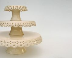 Lace cake plates - love it!!  Distinguished Glass Company can paint these any color you like!
