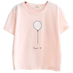 Kawaii Cotton Pastel Tops Tees Peach Pink Balloon Design at Amazon... ($18) ❤ liked on Polyvore featuring tops, t-shirts, cotton tees, pastel t shirts, pink t shirt, pink tee and pastel pink top