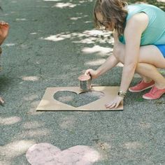 Chalk Hearts on pavement leading up to the ceremony and/or reception