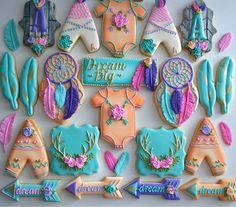 One Dozen Bohemian Themed Sugar Cookies - Sugar Cookies - Decorated Cookies Baby Cookies, Iced Cookies, Baby Shower Cookies, Cute Cookies, Royal Icing Cookies, Sugar Cookies, Hannukah Cookies, Easter Cookies, Birthday Cookies