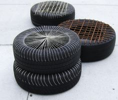 """Upcycle/Eco-green design: Chairs made from tires / at ICFF at Pratt Booth """"Empathy for Culture"""""""