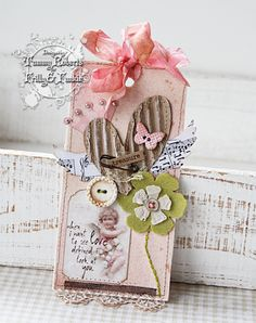 Shabby Pastel Tag...with corrugated heart, button & bow.