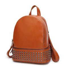 Brand Women Designer Rivets Genuine Leather Backpack 4 Colors Vintage High Quality Girls School Rucksack Ladies Best Back Pack