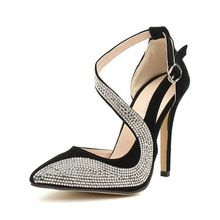 High Quality Pointed Toe Rhinestone Ladies Shoes Women Pumps High Heels Shoes Woman Size 35-39 QF038