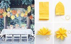 """""""Frufrus"""" de papel seda. Fácil e cria um efeito fantástico sobre mesa"""