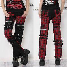 Red Plaid Black Steam Punk Gothic Fashion Casual Pants for Women SKU-11404201