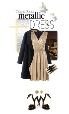 """""""Heavy Metal: Metallic Dresses"""" by shortyluv718 ❤ liked on Polyvore featuring Christian Louboutin, BCBGMAXAZRIA, Edie Parker, Lagos and metallicdress"""