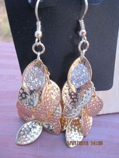 "Dangle Goldtone Earrings Multi Layered Leaf Shaped 3"" Long  #Unbranded #DropDangle"