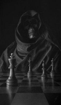 Creepy Grim Reaper & a game of chess Grim Reaper Art, Don't Fear The Reaper, Skull Wallpaper, Dark Wallpaper, Dark Fantasy Art, Dark Art, Totenkopf Tattoos, Reaper Tattoo, Skull Pictures