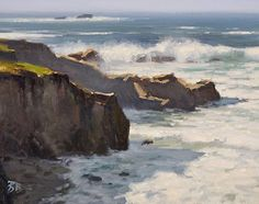 High Surf at Garapatta State Park by Brian Blood Oil ~ 11 x 14