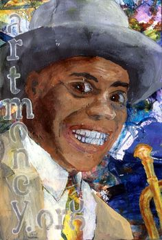 Portrait Louis Armstrong on paper