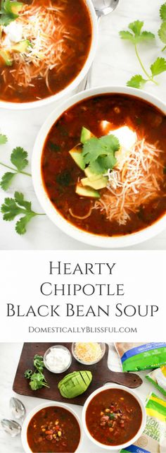 This Hearty Chipotle Black Bean Soup is full of flavor & a delicious vegetarian dish everyone will enjoy! This hearty soup is a delicious winter recipe that is bursting with chipotle flavor. #ad #DailyVegolutions