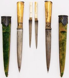 Indian nesting kard daggers (one dagger inside the other), 18th to 19th century, steel, copper, gold, iron, velvet, ivory, silver, L. with sheath 11 1/8 in. (28.3 cm); L. without sheath 10 7/8 in. (27.6 cm); W. 1 1/8 in. (2.9 cm); Wt. 3.9 oz. (110.6 g), Met Museum,  Bequest of George C. Stone, 1935.