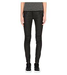 DKNY X CARA Moto coated skinny mid-rise jeans