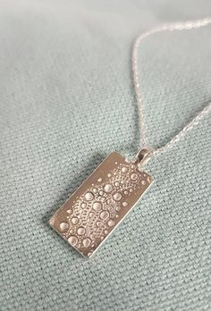 Sea urchin texture rectangular pendant//solid silver necklace