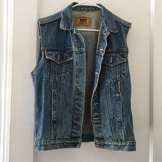 Vintage oversized denim vest Super cute denim best, sits a little oversized. Not cropped Vintage Jackets & Coats Vests
