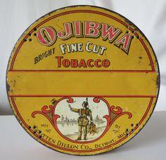 OJIBWA TOBACCO VINTAGE TIN, SCOTTEN DILLON CO., DETROIT, MICH.