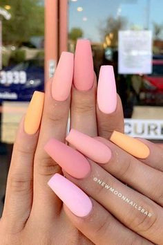 23 nail designs and ideas for coffin acrylic nails + # coffin .- 23 nail designs and ideas for coffin acrylic nails + # coffin # for # … – # acrylic nails - Matte Pink Nails, Peach Nails, Coffin Nails Matte, Best Acrylic Nails, Coffin Acrylics, Coffen Nails, Peach Colored Nails, Nail Polishes, Matte Nail Colors