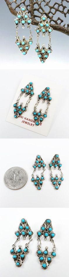 Earrings 98497: Native American Zuni Sterling Silver Turquoise Chandelier Earrings Wayne Johnson -> BUY IT NOW ONLY: $55.95 on eBay!