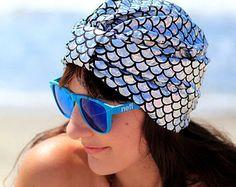 mermaid silver print bonnet