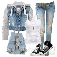 Sporty denim outfit