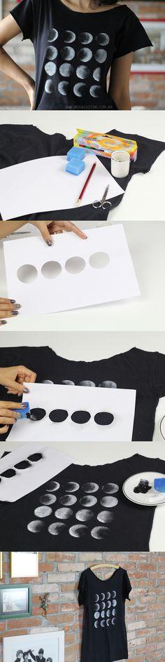 Tutorial em vídeo no blog, para ver todos os passos de como fazer essa estampa de fases da lua, usando tinta para tecido: http://modacustom.com.br/2015/12/10/tutorial-estampa-de-fases-da-lua/