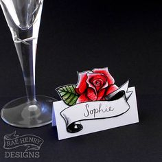 Rose Tattoo Wedding Place Cards From Rae Henry Designs Rockabilly