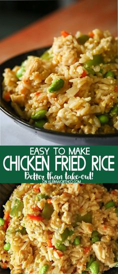 Chicken Fried Rice Restaurant Style that is simple & easy to make. Adapt your veggies to your liking & have your favorite fried rice recipe that is better than take-out! #friedrice #chickenrecipes #dinner #sidedish #easyrecipes #chinesefood via @KleinworthCo