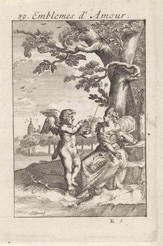 Jan van Vianen   Amor met de Noorderster bij een vrouw, Jan van Vianen, 1686   Amor heeft een planetarium met een uitstekende ster in zijn hand en staat terzijde van een elegant geklede dame, zittend onder een boom. Zoals de Noorderster steeds het noorden aangeeft zo zal een minnaar altijd de ogen van zijn geliefde opzoeken. Negendertigste embleem uit Emblemata Amatoria.