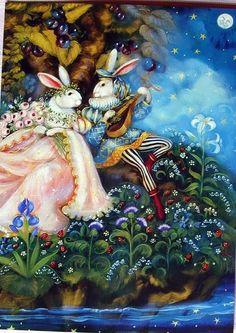 Princess Bunny Rabbit Flowers Birthday Greeting Card NEW Pamela Silin-Palmer