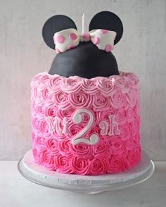 Pink ombre Minnie Mouse birthday cake