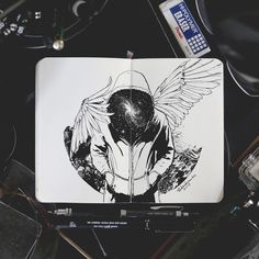 Black and white Ink Graphic Design Art - Universe. Black and white Ink Graphic Design Art. By Joseph Catimbang. Ink Drawings, Cool Drawings, Black And White Art Drawing, Black Pen Drawing, Ink Pen Art, Mermaid Coloring Pages, Ange Demon, Ink Illustrations, Illustration Art