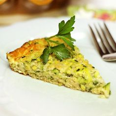 Flourless Zucchini Pie Recipe with shredded zucchini, eggs, cheddar cheese, baking soda, sea salt, onion powder