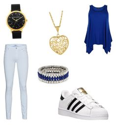 """School"" by hellokitty379921 on Polyvore featuring 7 For All Mankind, adidas, Kenneth Jay Lane, black, Blue and converse"