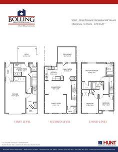 JB Anacostia-Bolling - Rickenbacker & Hooe Terrace Communities - Spirit floor-plan: 3 bedrooms, 2.5 bathrooms, 1390 Sq Ft. Designated for E1-O3 service members.