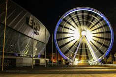 The Liverpool Echo Arena and Liverpool Wheel Liverpool Waterfront, Liverpool Town, Clocks Go Back, Today Pictures, Night Photography, Night Life, The Good Place, England, Places