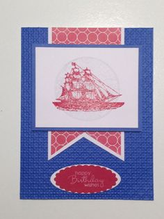 Stampin Up The Open Sea, Petite Pairs, Birthday, Square Lattice Embossing Folder, Oval and Oval Scallo[ Framelit
