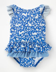 7b6fe768375 Pretty Frill Swimsuit - Blue Oasis Jolly Floral | Boden US. PeplumTankini SwimwearTopsFashionModaBathing SuitsFasionSwimsuit