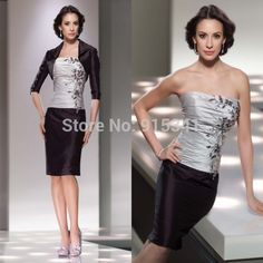 Cheap suits shanghai, Buy Quality dress skater directly from China suit juice Suppliers: Best Seller Sheath Silver and Black Knee Length Pant Suits Mother of the Bride Dress with Jacket Knee LengthSilhou