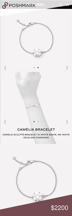 Chanel Limited Edition Camelia bracelet. Brand new 18k white gold, diamonds, white agate. Brand new. Comes with box, dust bag, authenticity, receipt. Only a few sold in the United States. CHANEL Jewelry Bracelets