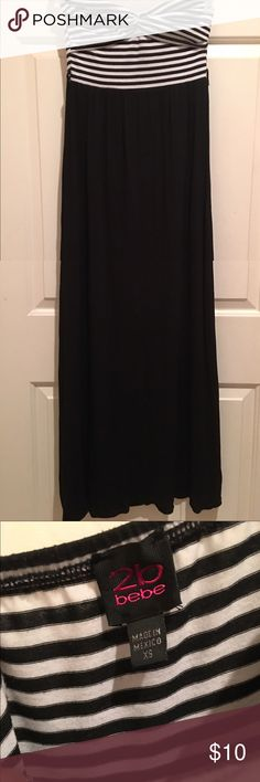"""Bebe Maxi Dress GUC. Size XS. 2B Bebe maxi dress. Black bottom with black and white top. Rated """"good"""" because the belt is missing. It's not necessary, however. bebe Dresses Maxi"""