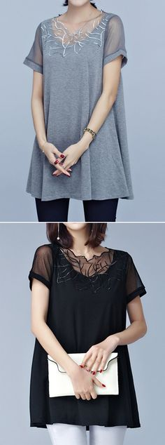 [Newchic Online Shopping] 58%OFF Lace Embroidery Short Sleeve Pleated Hem Women T-Shirts