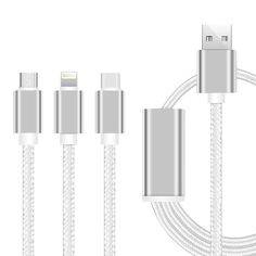 YourDeal 3 in 1 Nylon Braided USB Charging Cable with 8 Pin Lightning, USB Type C, Micro USB Charging Cable Connector Compatible with Xiaomi Mi, Apple, Samsung, Sony, Lenovo, Oppo, Vivo Smartphones Charge Cable