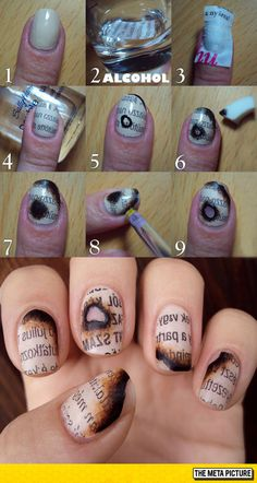 Burnt Newspaper Nails, I know, super cool.