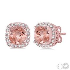 6x6 mm Cushion Cut Morganite and 1/4 Ctw Round Cut Diamond Earrings in 14K Pink Gold M.A. Laurie Jewelers Earrings