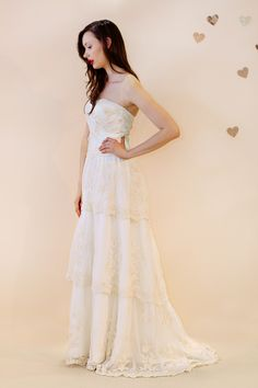 Sweet Angelique tiered vintage embroidered net gown with dropped waist bodice