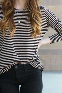 breton shirt black pants gold pendant necklace